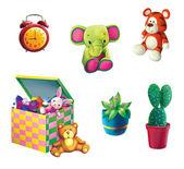 игрушка слон, тигр, игрушка, ящик для игрушек, растение в горшок и кактус — Стоковое фото