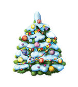 Decorated Christmass tree — Stock Photo