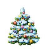 Decorated Christmass tree — Stock Photo