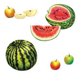 Watermelon and apples — Stockfoto