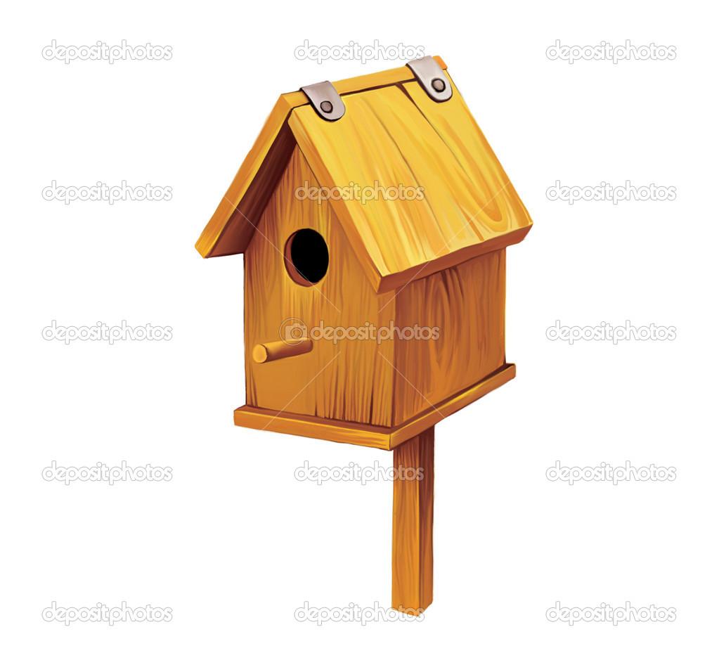 Maison de l 39 oiseau en bois nichoir photo 22136955 - Maison oiseau bois ...