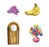 Old wooden Clock, pendulum, Grape, Bananas and Flowers in Pink Vase — Stock Photo