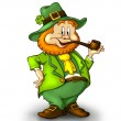 CartoonishLeprechaun with a smoking pipe. A lucky leprechaun wearing a green suit — Stock Photo #22208715