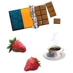 Bar of chocolate. strawberries, strawberry, Tea cup.Cranberry, Raspberry. Berries — Stock Photo