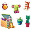Children Toys. Toy Elephant, Toy tiger, box for toys, plant in the pot and cactus - Stock Photo