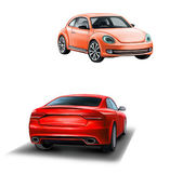Two red cars. Frond and rear view. car for woman. Sedan. — Stock Photo