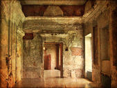 Interior of an old Palace. Ruines of a castle. grunge and retro style. — Stock Photo