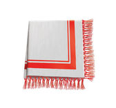 Linen napkin with red and white decor. tablecloth — Stock Photo