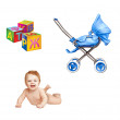 Little baby naked laying on his belly, colorful childish cubes, modern pram isolated on white backgrond — Stock Photo