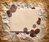 Vintage decorativ composition with old paper and coins, Money Finance Background/ Finance concept. — Stock Photo