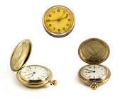 旧复古口袋时钟、 秒表 — 图库照片