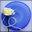Stock Photo: Rose on blue glass plate