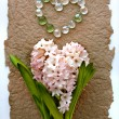 Hyacinth flower with a heart from glass beads — Стоковая фотография