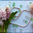 Hyacinth flowers with a pearl bead thread on light blue background with glass balls — Stock fotografie