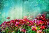 Fond belle au printemps avec petites fleurs rouges et roses — Photo