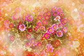 Beautiful spring background with little red and pink flowers — Стоковое фото