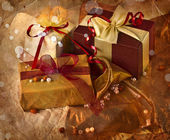 Gift box with red bow — Stok fotoğraf