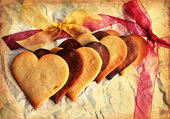 Valentines Day background with heart shaped sugar cookies — Стоковое фото