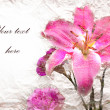 Stock Photo: Pink lilies flowers on vintage background