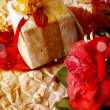 Red Camellia Flower, gift boxes with silk ribbon and bow — Foto Stock