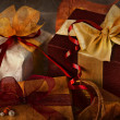 Gift box with red bow — Stockfoto