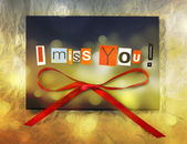 I miss you. Background with ribbon — Stock Photo