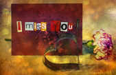 I Miss You. sentiment spelled out with cut out letters. Card with pink carnation flower and Cookie cutter in shape of heart — Stockfoto