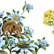 Mouse, grasshoper blue meadow flowers - Stock Photo