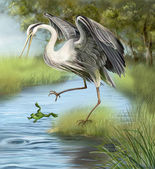 Illustration, crane hunting a frog in the water. — Stock Photo