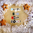 Stock Photo: Christmas background with cookies and snowflakes