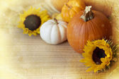 Pumpkins and autumn decorations — Stock Photo