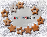 Christmas background with cookies and snowflakes — Stock Photo
