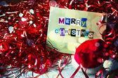 Julkort med dekorationer — Stockfoto