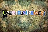 Handgemaakte gefeliciteerd met uitgesneden letters — Stockfoto