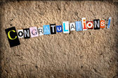 Handmade congratulations with cut out letters — Stock Photo