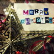Stock Photo: Christmas decorations with greeting card