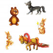 Vector illustration of cute cartoon forest animals — Stock Photo #37351599