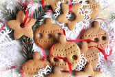 Christmas background with cookies, fir-tree branches and snowflake — Stockfoto