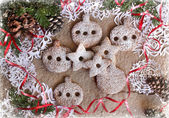 Christmas background with cookies, fir-tree branches and snowflake — Stock Photo