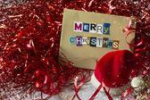 Kerstversiering met wenskaart — Stockfoto