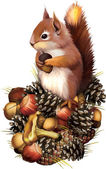 American esquilo cinzento pressionado ansiosamente pata para seu peito — Vetor de Stock
