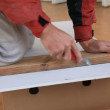 Stock Video: Cutting plasterbord
