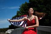 Woman American Flag — Stock Photo