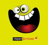 Mutlu doğum günü kartı kocaman bir gülümseme — Stok Vektör