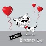 Happy Birthday Card cat dog smile — Stock Vector