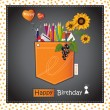 Stock Vector: Happy Birthday Card pocket