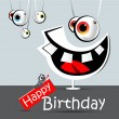 Happy birthday funny card smile and eyes — Stock Vector #16203371