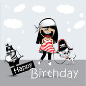 Happy Birthday Card a child with a toy dog pirate — Stock Vector