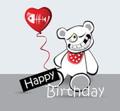 Happy Birthday Card cat bear — Stock Vector