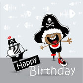 Happy Birthday Card child pirate — Stock Vector